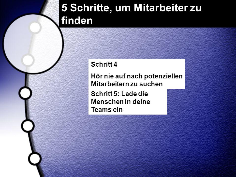5 Schritte, um Mitarbeiter zu finden Schritt 4 Hör nie auf nach potenziellen Mitarbeitern zu suchen Schritt 5: Lade die Menschen in deine Teams ein
