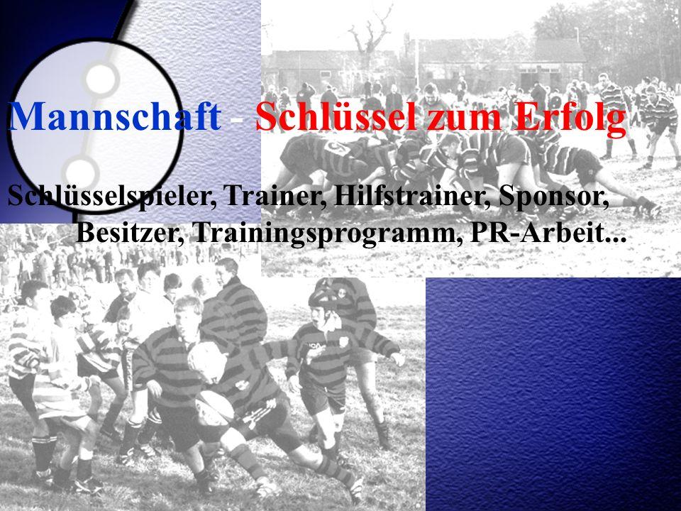 Mannschaft - Schlüssel zum Erfolg Schlüsselspieler, Trainer, Hilfstrainer, Sponsor, Besitzer, Trainingsprogramm, PR-Arbeit...