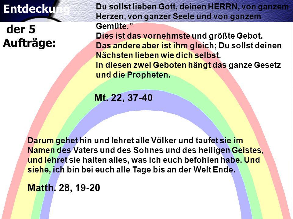 Matth. 28, 19-20 Mt. 22, 37-40 Du sollst lieben Gott, deinen HERRN, von ganzem Herzen, von ganzer Seele und von ganzem Gemüte. Dies ist das vornehmste