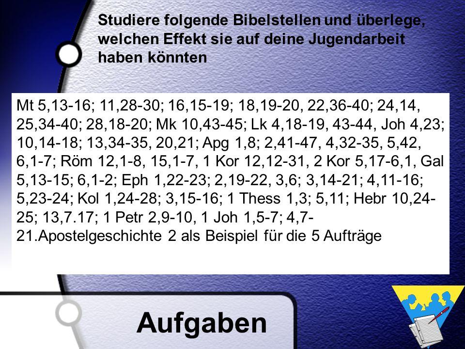 Mt 5,13-16; 11,28-30; 16,15-19; 18,19-20, 22,36-40; 24,14, 25,34-40; 28,18-20; Mk 10,43-45; Lk 4,18-19, 43-44, Joh 4,23; 10,14-18; 13,34-35, 20,21; Ap