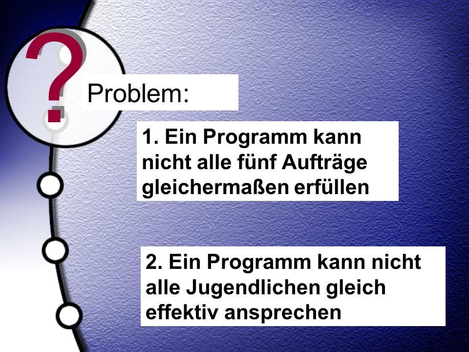 ? ? 1. Ein Programm kann nicht alle fünf Aufträge gleichermaßen erfüllen 2. Ein Programm kann nicht alle Jugendlichen gleich effektiv ansprechen Probl