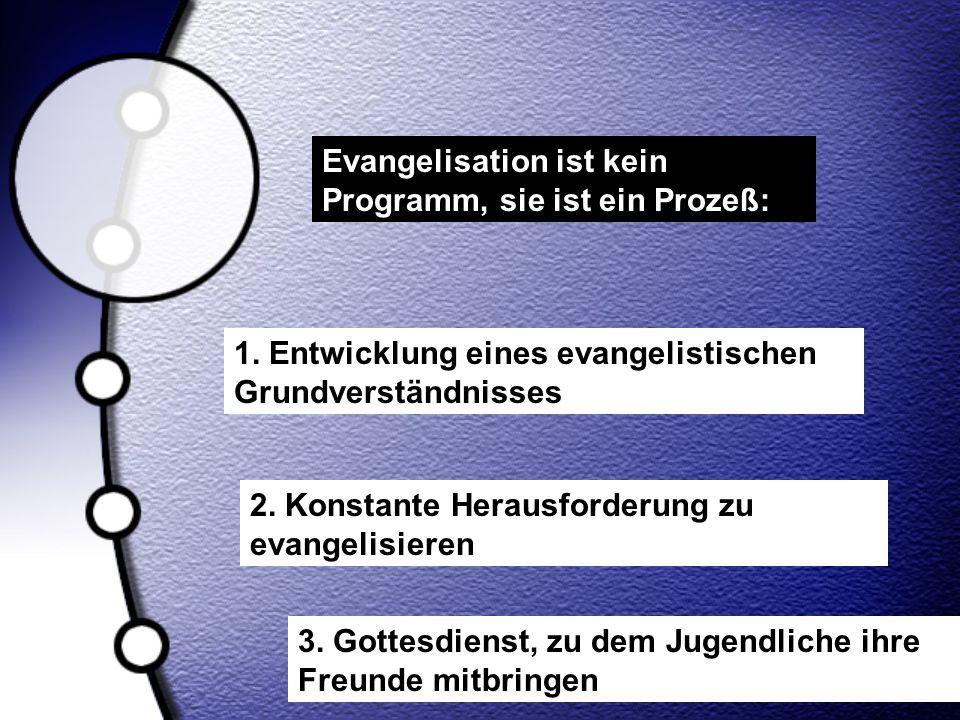 Evangelisation ist kein Programm, sie ist ein Prozeß: 1. Entwicklung eines evangelistischen Grundverständnisses 2. Konstante Herausforderung zu evange