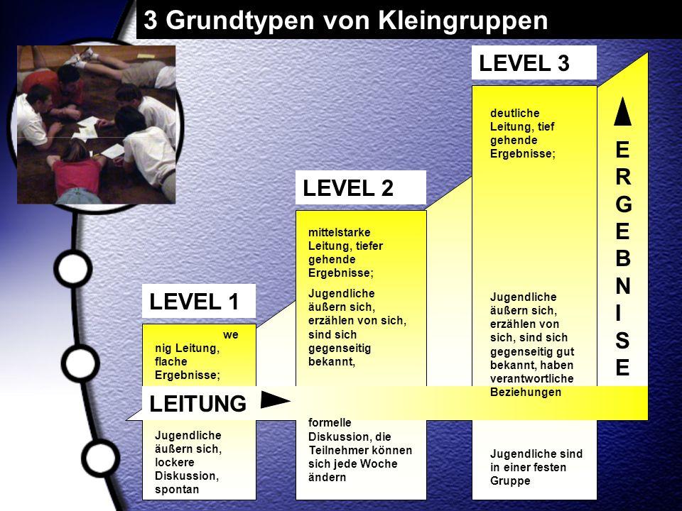ERGEBNISEERGEBNISE LEITUNG LEVEL 3 LEVEL 1 LEVEL 2 we nig Leitung, flache Ergebnisse; Jugendliche äußern sich, lockere Diskussion, spontan mittelstark