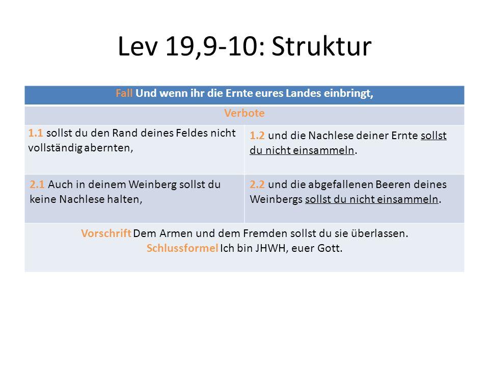 Lev 19,9-10: Struktur Fall Und wenn ihr die Ernte eures Landes einbringt, Verbote 1.1 sollst du den Rand deines Feldes nicht vollständig abernten, 1.2 und die Nachlese deiner Ernte sollst du nicht einsammeln.