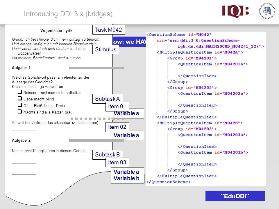 Introducing DDI 3.x (bridges) But now: we HAVE a standard! Grupp, ich beschwöre dich, mein punzig Turteldrom Und drängel reifig mich mit krinklen Bind