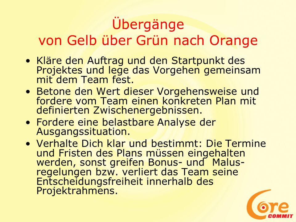 Übergänge von Gelb über Grün nach Orange Kläre den Auftrag und den Startpunkt des Projektes und lege das Vorgehen gemeinsam mit dem Team fest.