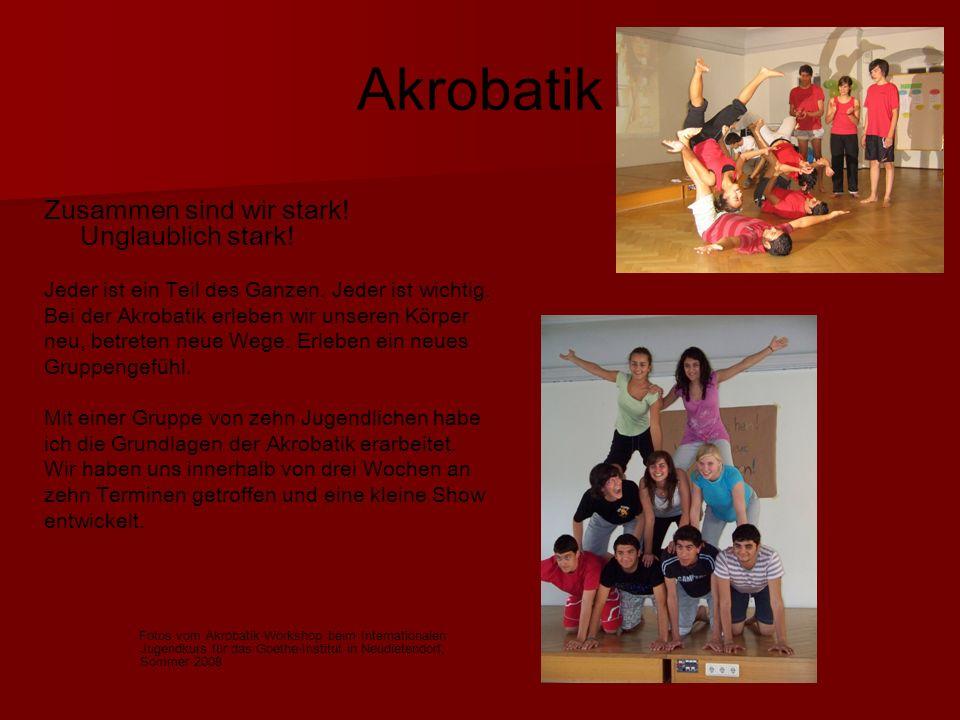 Akrobatik Zusammen sind wir stark.Unglaublich stark.