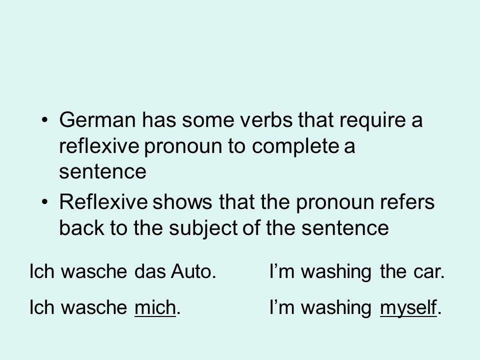 Reflexive Pronouns… (noch einmal!) SubjectAcc.Refl.