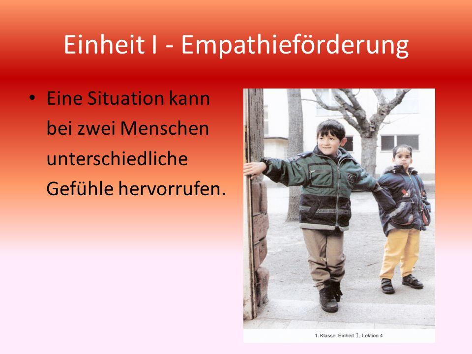 Einheit I - Empathieförderung Eine Situation kann bei zwei Menschen unterschiedliche Gefühle hervorrufen.