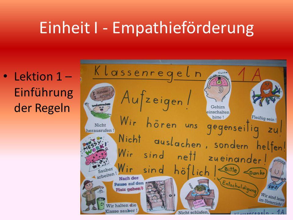 Einheit I - Empathieförderung Erkennen der Gefühle Freude, Trauer und Wut