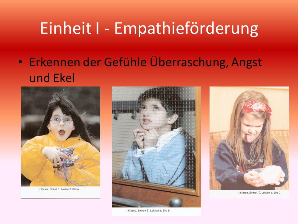 Einheit I - Empathieförderung Erkennen der Gefühle Überraschung, Angst und Ekel