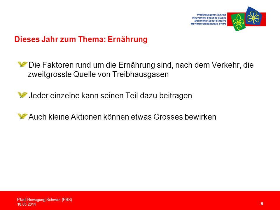 Dieses Jahr zum Thema: Ernährung 5 Die Faktoren rund um die Ernährung sind, nach dem Verkehr, die zweitgrösste Quelle von Treibhausgasen Jeder einzelne kann seinen Teil dazu beitragen Auch kleine Aktionen können etwas Grosses bewirken Pfadi Bewegung Schweiz (PBS) 18.05.2014