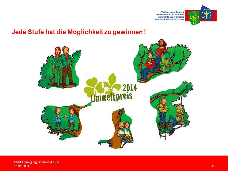 6 Jede Stufe hat die Möglichkeit zu gewinnen ! Pfadi Bewegung Schweiz (PBS) 18.05.2014