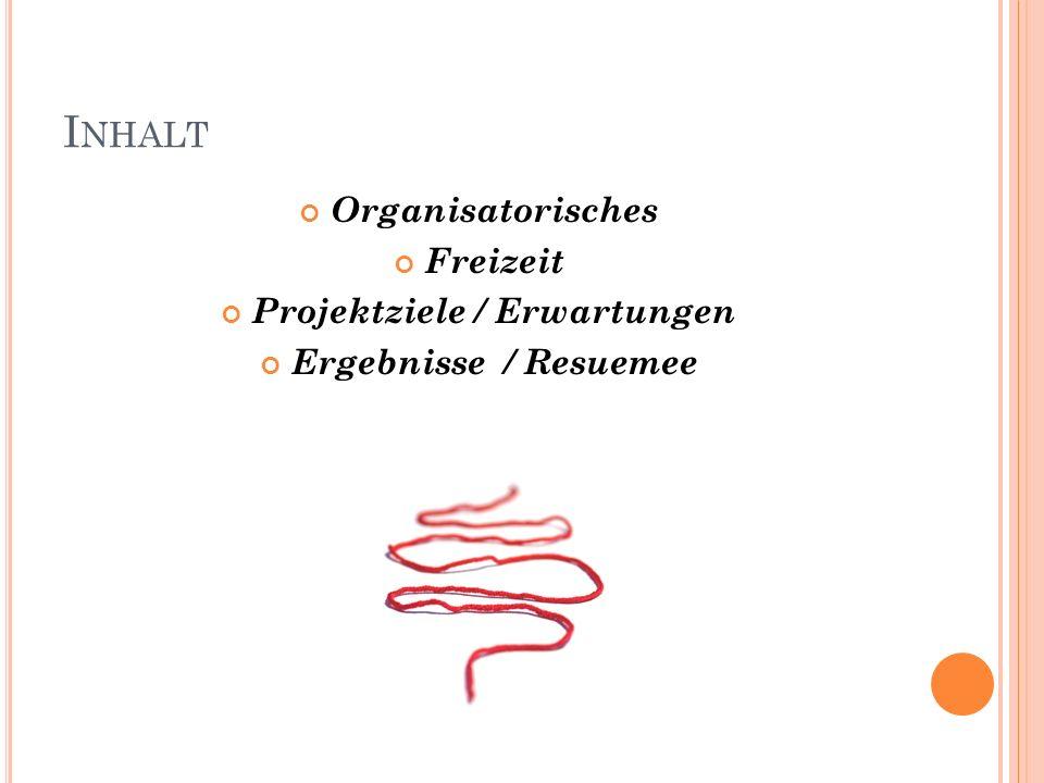 I NHALT Organisatorisches Freizeit Projektziele / Erwartungen Ergebnisse / Resuemee