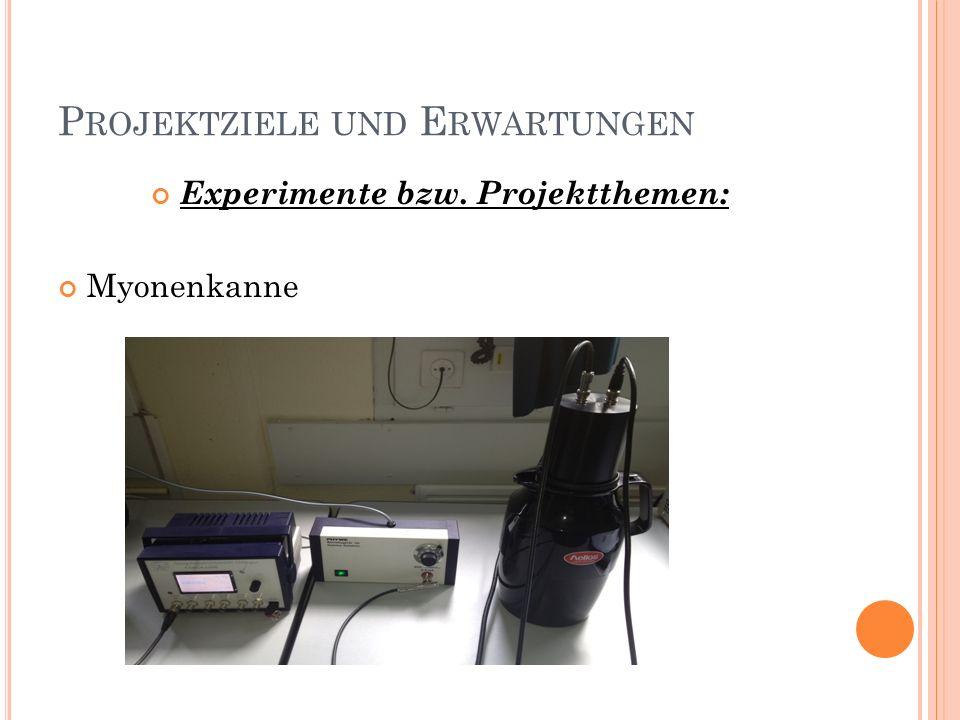 P ROJEKTZIELE UND E RWARTUNGEN Experimente bzw. Projektthemen: Myonenkanne