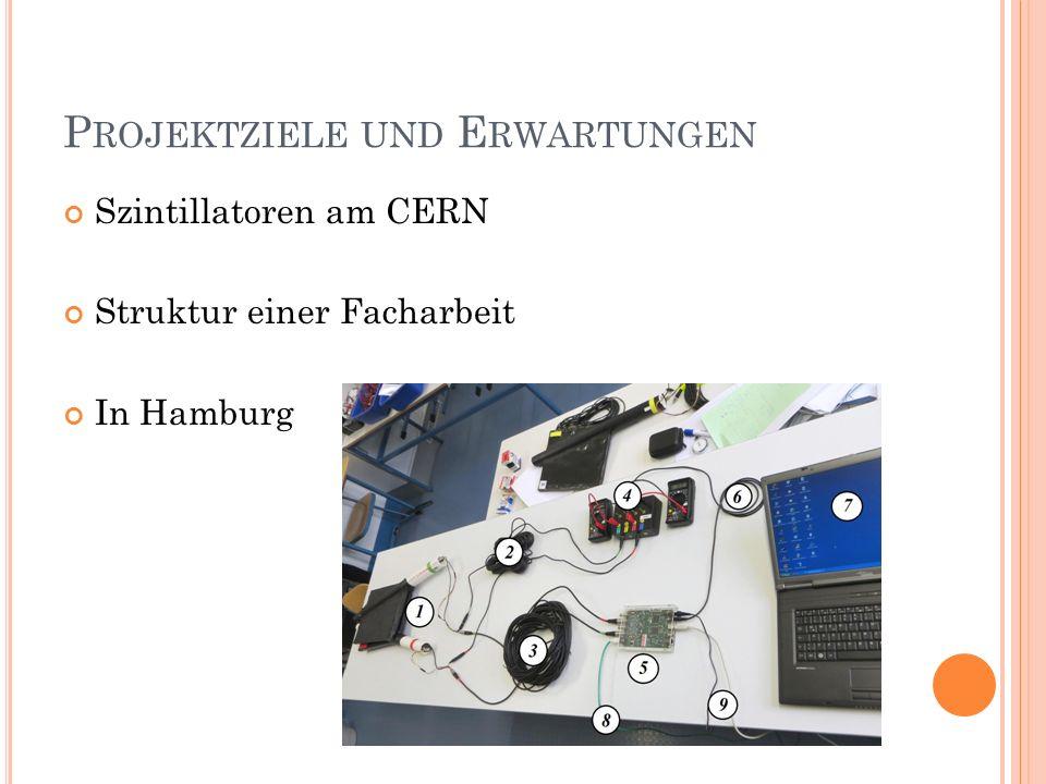 P ROJEKTZIELE UND E RWARTUNGEN Szintillatoren am CERN Struktur einer Facharbeit In Hamburg