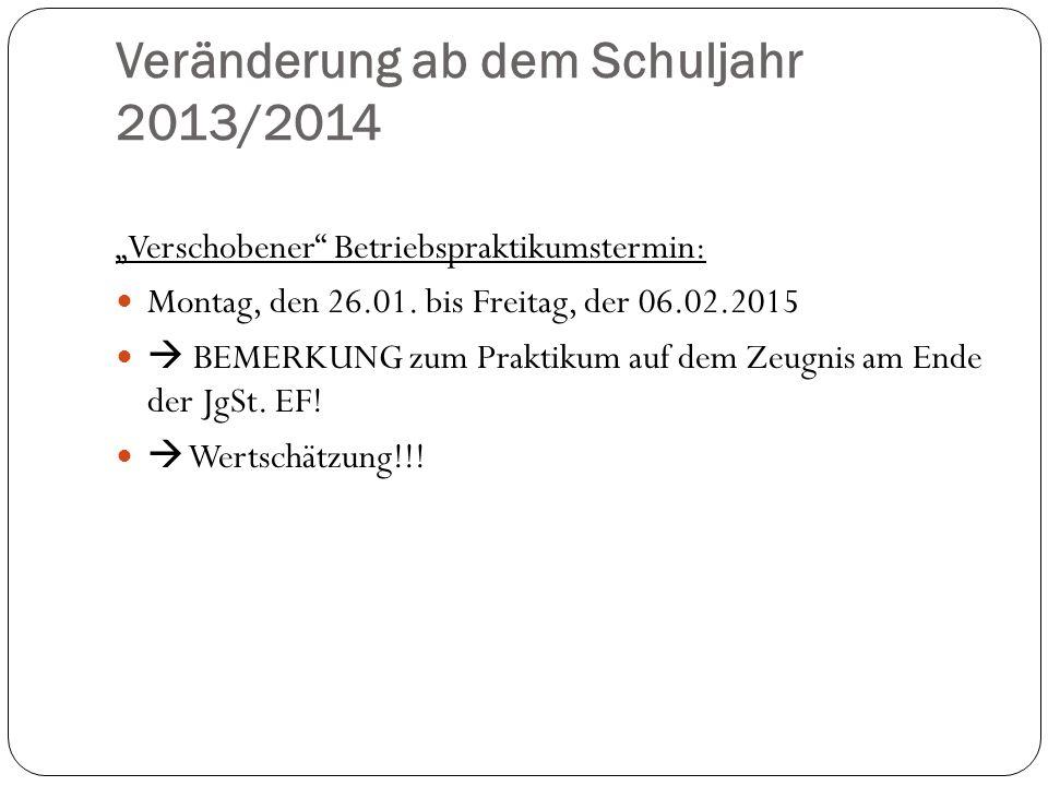Veränderung ab dem Schuljahr 2013/2014 Verschobener Betriebspraktikumstermin: Montag, den 26.01. bis Freitag, der 06.02.2015 BEMERKUNG zum Praktikum a