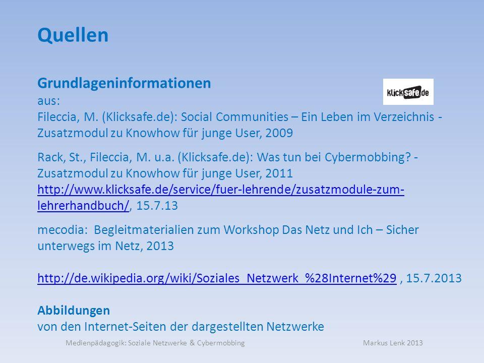 Quellen Grundlageninformationen aus: Fileccia, M.