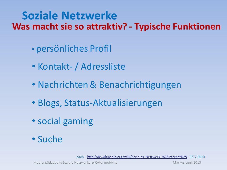 Soziale Netzwerke persönliches Profil Kontakt- / Adressliste Nachrichten & Benachrichtigungen Blogs, Status-Aktualisierungen social gaming Suche Was macht sie so attraktiv.