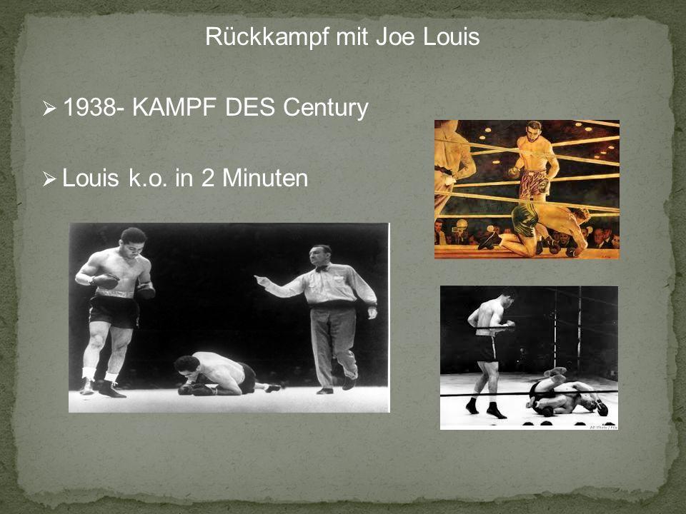 Rückkampf mit Joe Louis 1938- KAMPF DES Century Louis k.o. in 2 Minuten