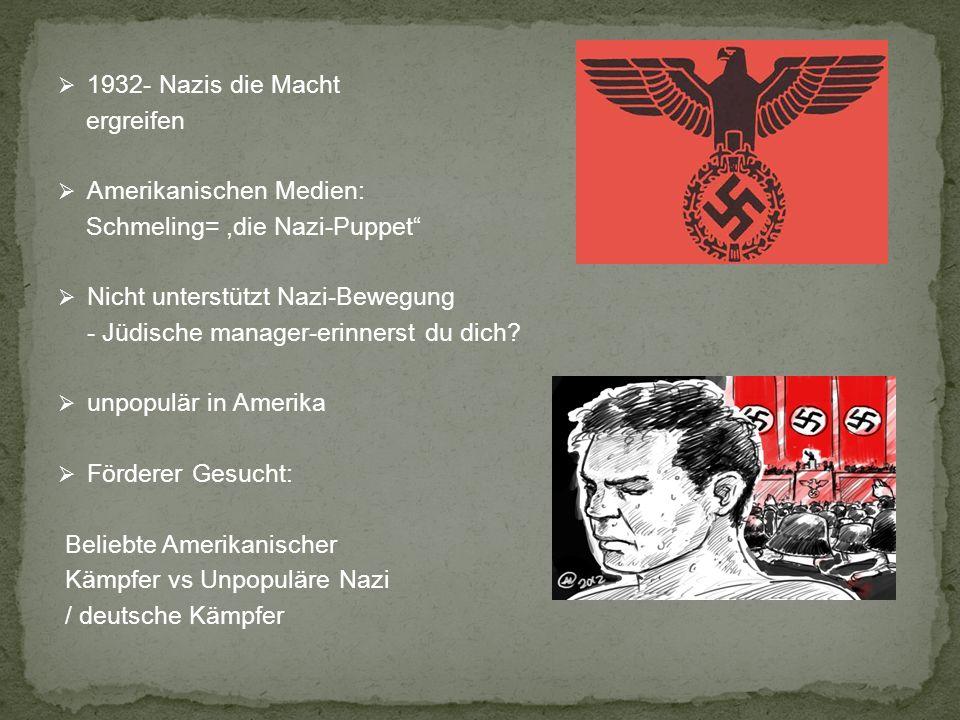 1932- Nazis die Macht ergreifen Amerikanischen Medien: Schmeling=,die Nazi-Puppet Nicht unterstützt Nazi-Bewegung - Jüdische manager-erinnerst du dich.