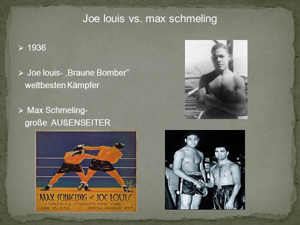 Joe louis vs. max schmeling 1936 Joe louis-,Braune Bomber weltbesten Kämpfer Max Schmeling- große AUßENSEITER