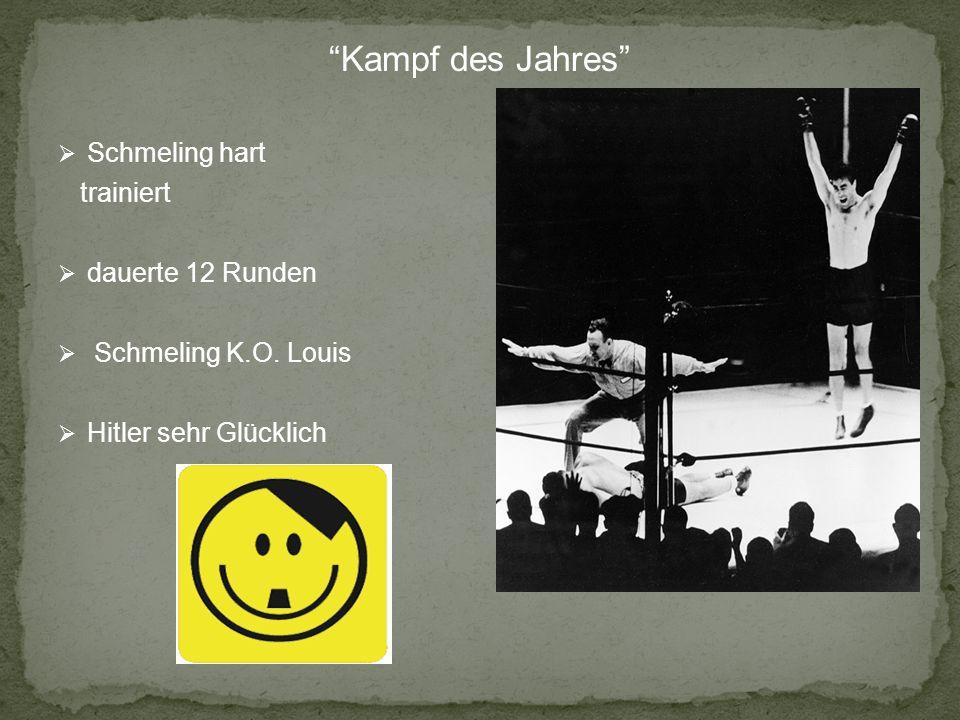 Kampf des Jahres Schmeling hart trainiert dauerte 12 Runden Schmeling K.O. Louis Hitler sehr Glücklich