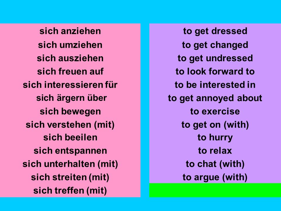 sich umziehen sich ausziehen sich freuen auf sich interessieren für sich ärgern über sich bewegen sich verstehen (mit) to get changed to get undressed to look forward to to be interested in to get annoyed about sich anziehento get dressed sich beeilen sich entspannen to hurry to relax sich streiten (mit)to argue (with) sich treffen (mit)to meet up (with) to get on (with) sich unterhalten (mit)to chat (with)