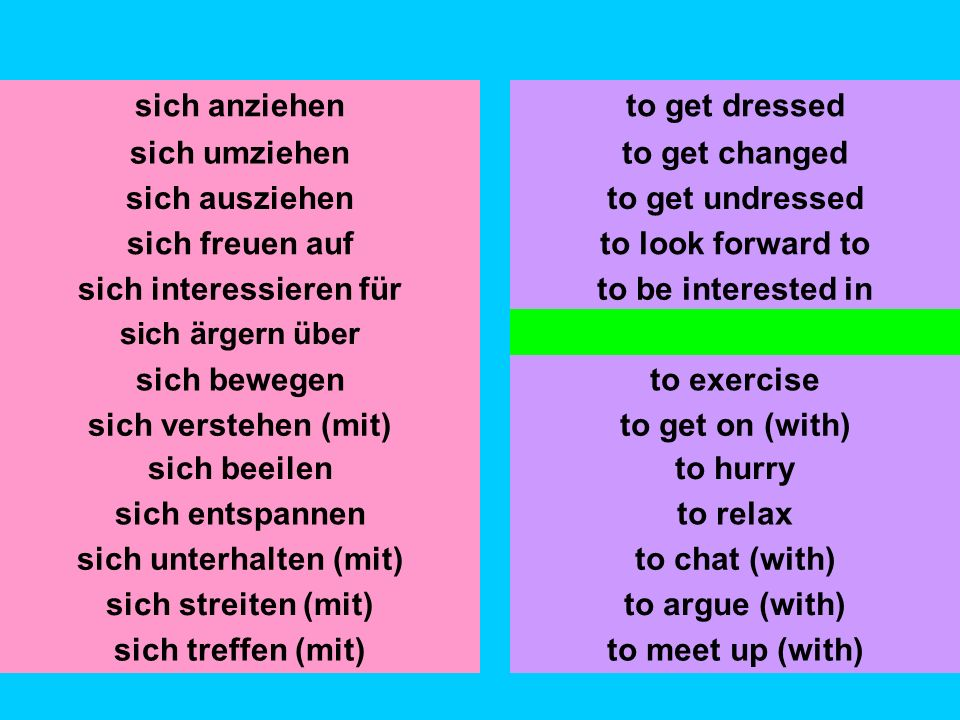 sich umziehen sich ausziehen sich freuen auf sich interessieren für sich ärgern über sich bewegen sich verstehen (mit) to get changed to get undressed to look forward to to be interested in to get annoyed about to exercise sich anziehento get dressed sich beeilen sich entspannen to hurry to relax sich streiten (mit)to argue (with) sich treffen (mit)to meet up (with) to get on (with) sich unterhalten (mit)