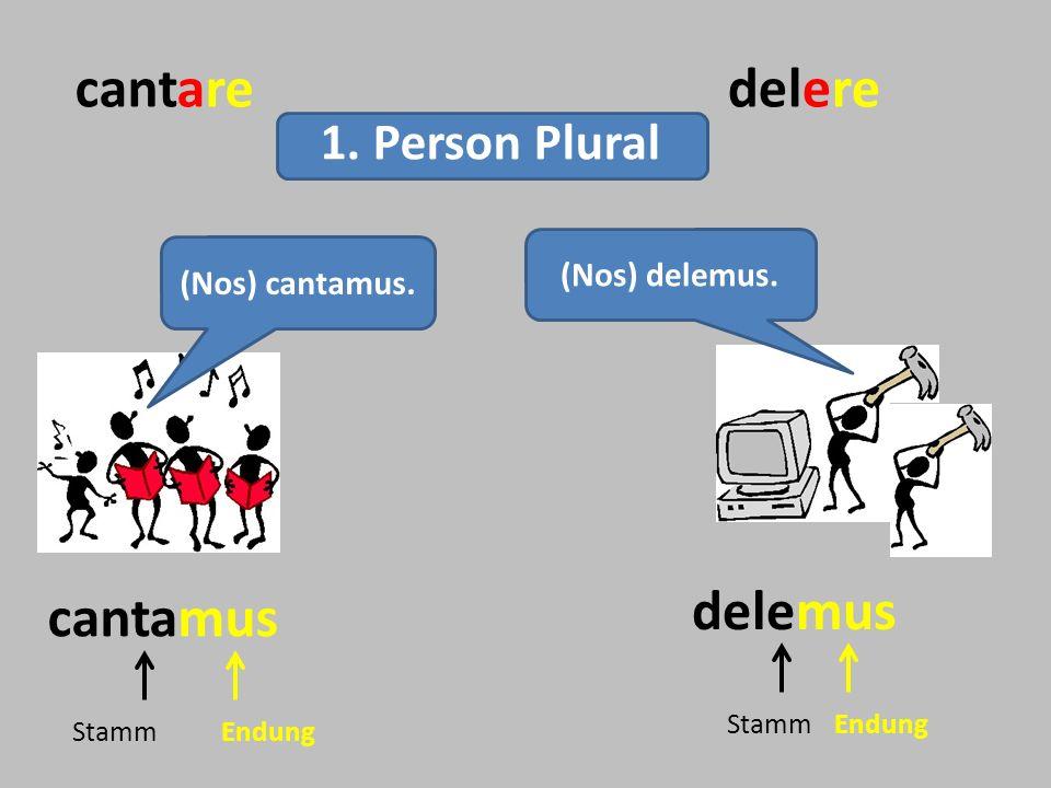 cantaredelere (Nos) delemus. cantamus delemus StammEndung StammEndung 1. Person Plural (Nos) cantamus.