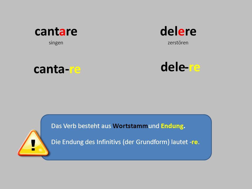 Das Verb besteht aus Wortstammund Endung. Die Endung des Infinitivs (der Grundform) lautet -re. cantare singen delere zerstören dele canta-re