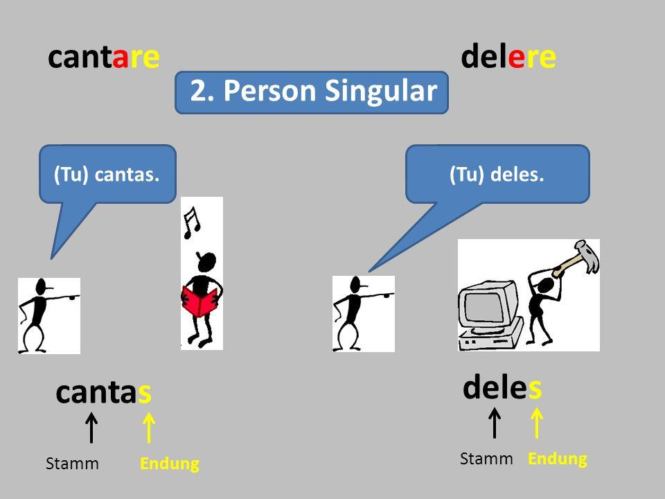 1.Person Singular cantaredelere 2. Person Singular 3.