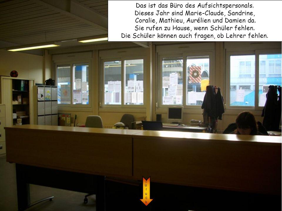 Das ist das Büro des Aufsichtspersonals. Dieses Jahr sind Marie-Claude, Sandrine, Coralie, Mathieu, Aurélien und Damien da. Sie rufen zu Hause, wenn S
