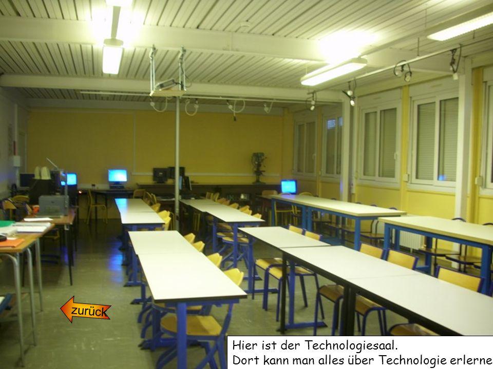zurück. Hier ist der Technologiesaal. Dort kann man alles über Technologie erlernen.