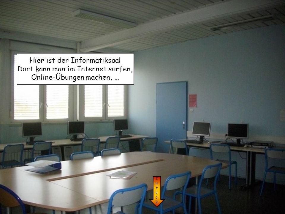 zurückzurück Hier ist der Informatiksaal Dort kann man im Internet surfen, Online-Übungen machen, …