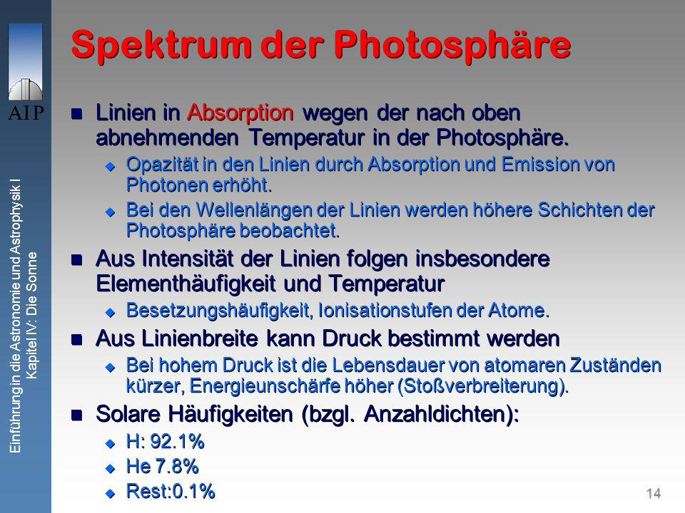 14 Einführung in die Astronomie und Astrophysik I Kapitel IV: Die Sonne Spektrum der Photosphäre Linien in Absorption wegen der nach oben abnehmenden