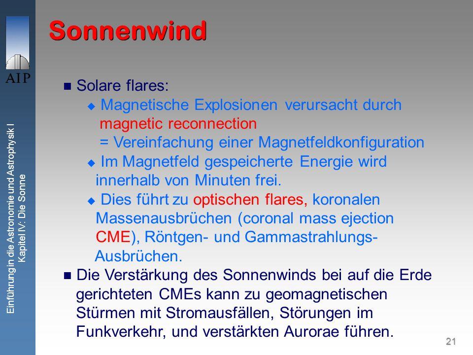 21 Einführung in die Astronomie und Astrophysik I Kapitel IV: Die Sonne Sonnenwind Solare flares: Magnetische Explosionen verursacht durch magnetic re