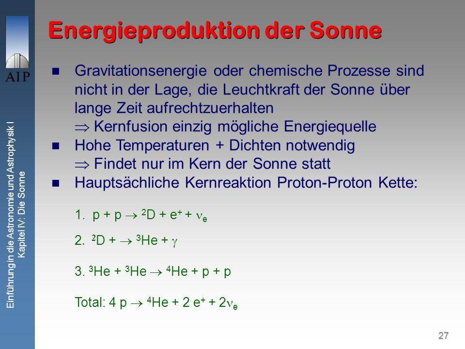 27 Einführung in die Astronomie und Astrophysik I Kapitel IV: Die Sonne Energieproduktion der Sonne Gravitationsenergie oder chemische Prozesse sind n