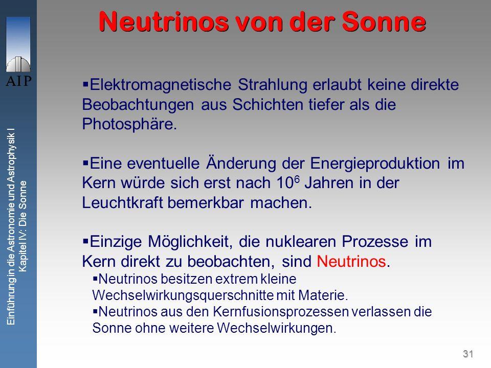 31 Einführung in die Astronomie und Astrophysik I Kapitel IV: Die Sonne Neutrinos von der Sonne Elektromagnetische Strahlung erlaubt keine direkte Beo
