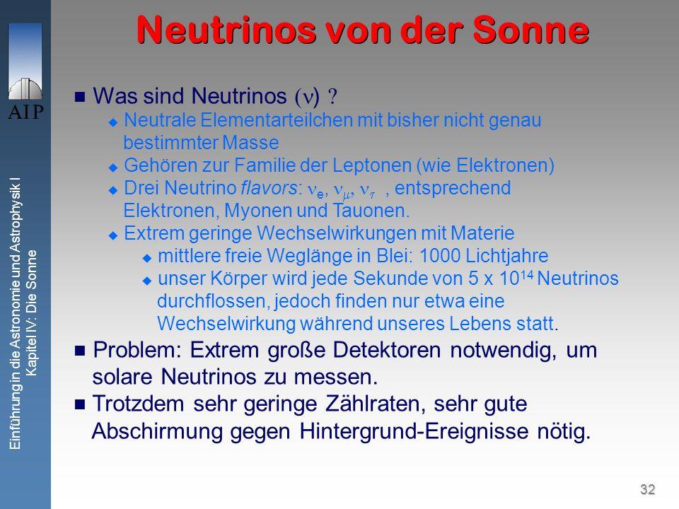 32 Einführung in die Astronomie und Astrophysik I Kapitel IV: Die Sonne Neutrinos von der Sonne Was sind Neutrinos ) Neutrale Elementarteilchen mit bi