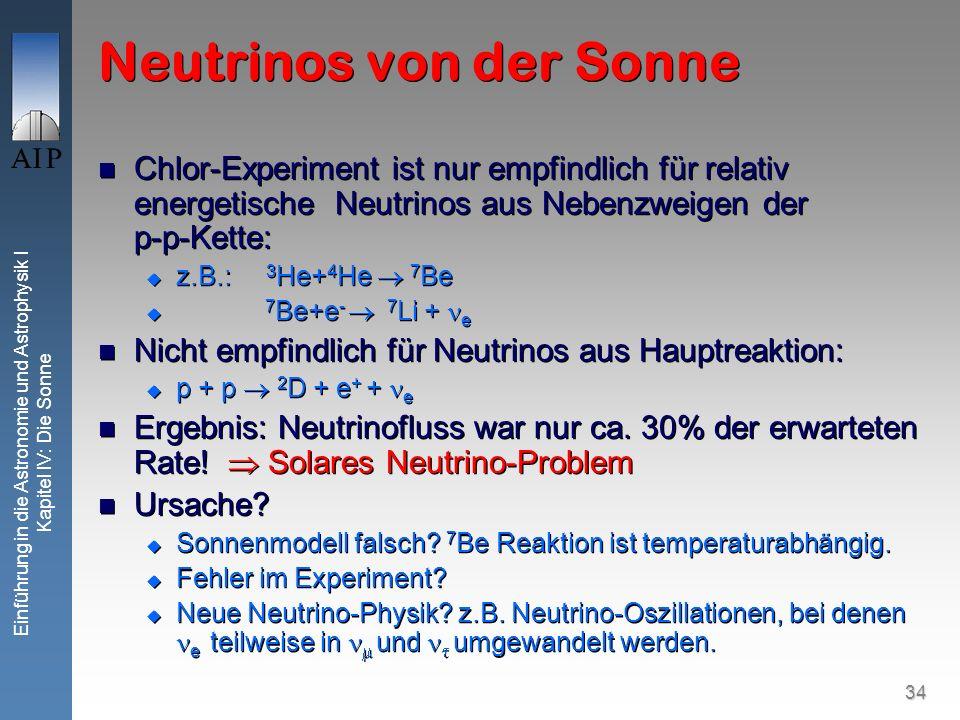 34 Einführung in die Astronomie und Astrophysik I Kapitel IV: Die Sonne Neutrinos von der Sonne Chlor-Experiment ist nur empfindlich für relativ energ