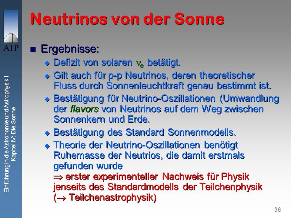 36 Einführung in die Astronomie und Astrophysik I Kapitel IV: Die Sonne Neutrinos von der Sonne Ergebnisse: Defizit von solaren e betätigt. Gilt auch
