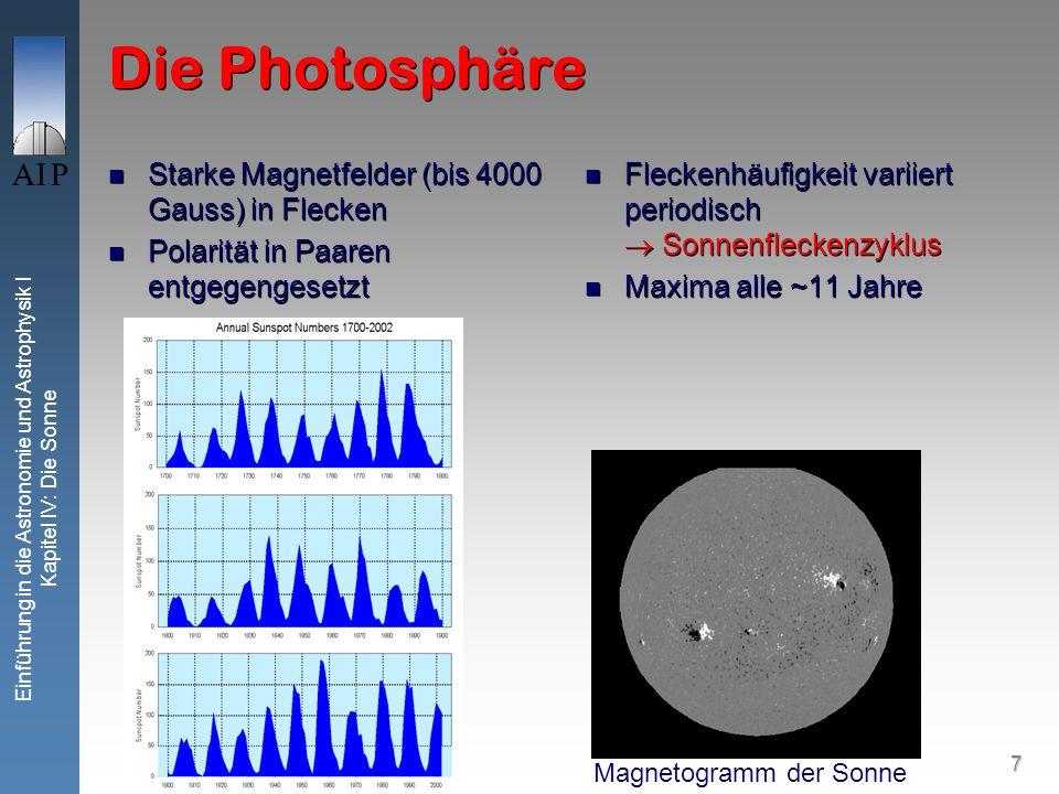 8 Einführung in die Astronomie und Astrophysik I Kapitel IV: Die Sonne Die Photosphäre Physik der Sonnenflecken Magnetisches Phänomen Aufsteigende magnetische Flussröhren erreichen die Photosphäre, magnetisiertes Plasma ist leichter als Umgebung, da teilweise durch magn.
