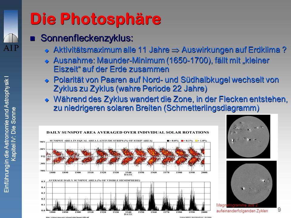 9 Einführung in die Astronomie und Astrophysik I Kapitel IV: Die Sonne Die Photosphäre Sonnenfleckenzyklus: Aktivitätsmaximum alle 11 Jahre Auswirkung