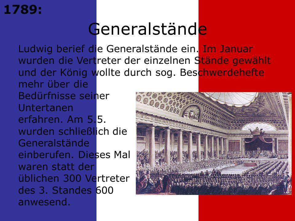 1789: Ludwig berief die Generalstände ein.