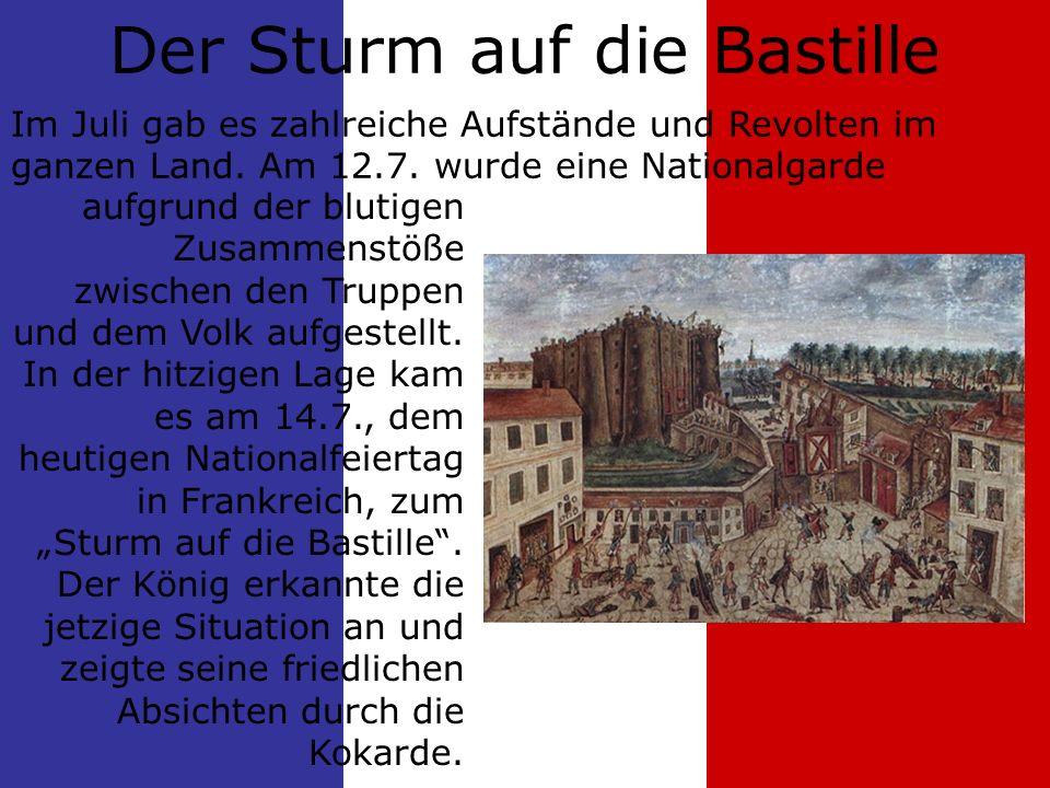 Der Sturm auf die Bastille aufgrund der blutigen Zusammenstöße zwischen den Truppen und dem Volk aufgestellt.