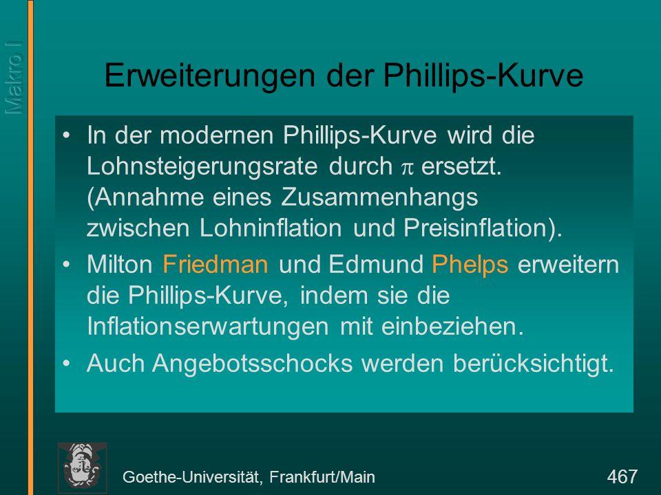 Goethe-Universität, Frankfurt/Main 467 Erweiterungen der Phillips-Kurve In der modernen Phillips-Kurve wird die Lohnsteigerungsrate durch ersetzt. (An