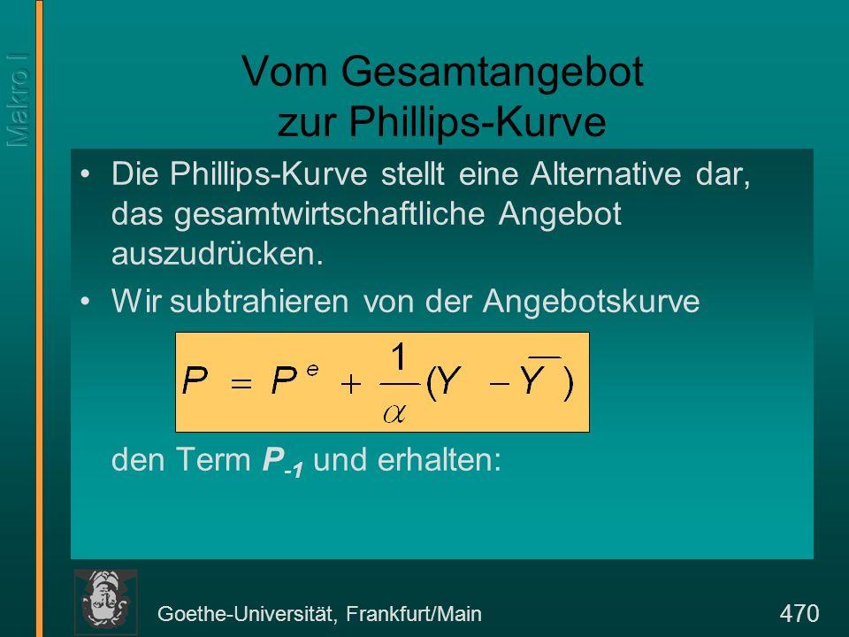 Goethe-Universität, Frankfurt/Main 470 Vom Gesamtangebot zur Phillips-Kurve Die Phillips-Kurve stellt eine Alternative dar, das gesamtwirtschaftliche