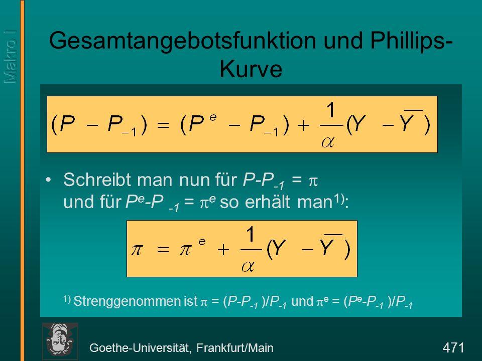 Goethe-Universität, Frankfurt/Main 471 Gesamtangebotsfunktion und Phillips- Kurve Schreibt man nun für P-P -1 = und für P e -P -1 = e so erhält man 1)