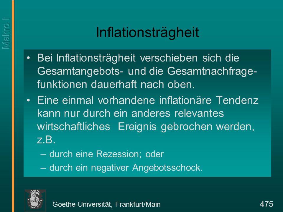 Goethe-Universität, Frankfurt/Main 475 Inflationsträgheit Bei Inflationsträgheit verschieben sich die Gesamtangebots- und die Gesamtnachfrage- funktio